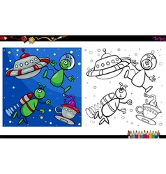 alien characters coloring page vector image