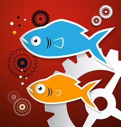 Fish and cogs - gears vector