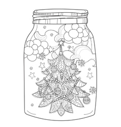Hand drawn christmas glass jar with fir vector