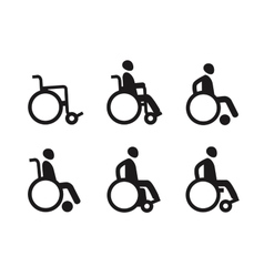 Wheelchair or invalid disabled icon set vector