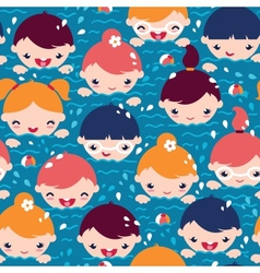 Children swimming seamless pattern background vector