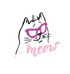 cat handmade scribble calligraphy vector image