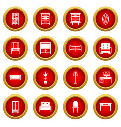 Furniture icon red circle set vector