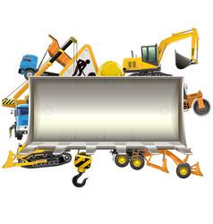 Construction frame with bulldozer shovel vector