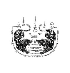 Thai traditional painting tattoo tiger vector