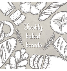 Hand drawn decorative bread bakery vector