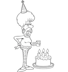 Cartoon senior citizen lady with a birthday cake vector