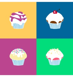 4 muffin collection vector