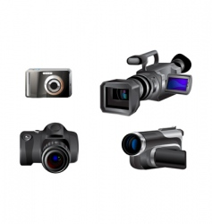 Video and photo camera icons vector