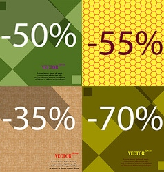 55 35 70 icon set of percent discount on abstract vector