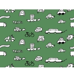 Hand-drawn doodle-style cars seamless pattern vector