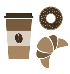 Coffee donut and croissant vector