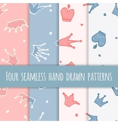 Cute hand drawn blue and pink seamless pattern vector