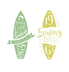 Summer holidays vintage emblem with surfboard vector