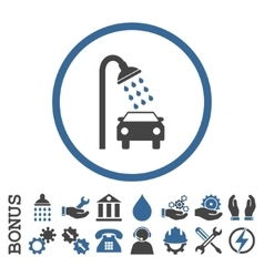 Car shower flat rounded icon with bonus vector
