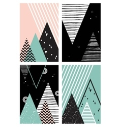 Abstract geometric scandinavian style pattern set vector