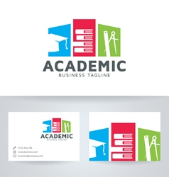 Academic logo with business card template vector