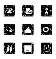 April fool day icons set grunge style vector