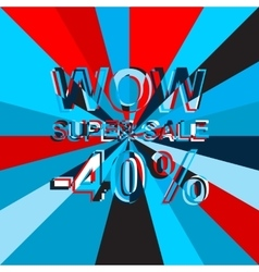 Big ice sale poster with wow super sale minus 40 vector