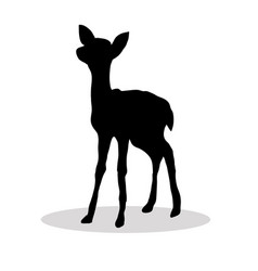 black silhouette fawn white background vector image vector image