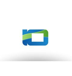Blue green io i o alphabet letter logo vector