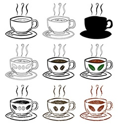 Cup Of Tea and Coffee Hand drawn set vector image vector image