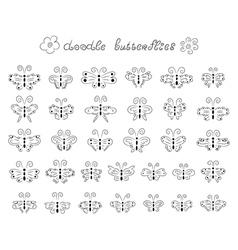 Cute doodle butterflies vector image vector image