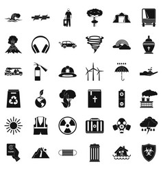 Danger disaster icons set simple style vector