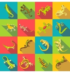 Different lizard icons set flat style vector