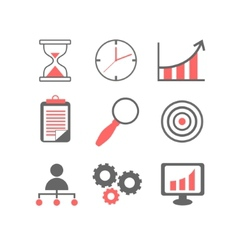 Flat line icons set of business planning process vector image vector image