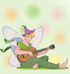 Flower fairy boy with guitar vector
