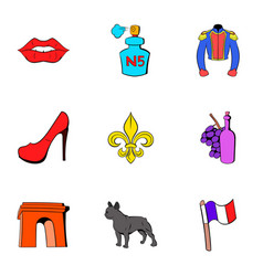 France icons set cartoon style vector