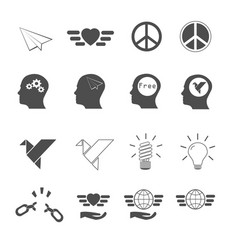 freedom icons set vector image vector image