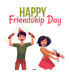 Happy friendship day greeting card vector