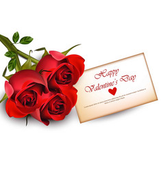 happy valentine day card with red roses realistic vector image