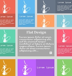 Hookah icon sign Set of multicolored buttons with vector image
