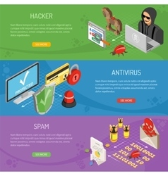Internet security isometric horizontal banners vector