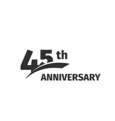 Isolated abstract black 45th anniversary logo on vector image vector image