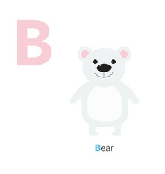 Letter B Bear white polar Zoo alphabet English abc vector image
