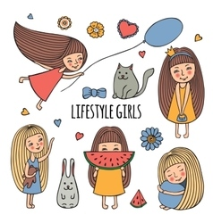 Lifestyle little girl vector image vector image