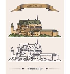 Luxembourg vianden old castle on mountain vector