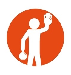 Man silhouette weight kettlebell hand up vector
