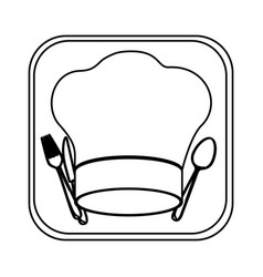 Monochrome rounded square with chef hat and vector