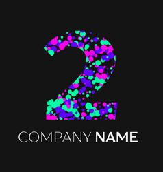 Number two logo with pink purple green particles vector