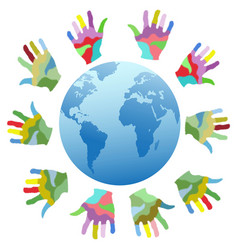 painting color hands around the world vector image