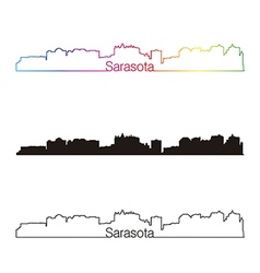 Sarasota skyline linear style with rainbow vector