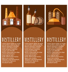 Set of banner for distillery industry with vector