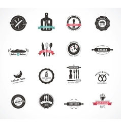 Set of vintage restaurant and food badges labels vector image