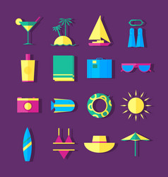 Summer holidays travel icons vector