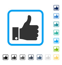 Thumb up framed icon vector